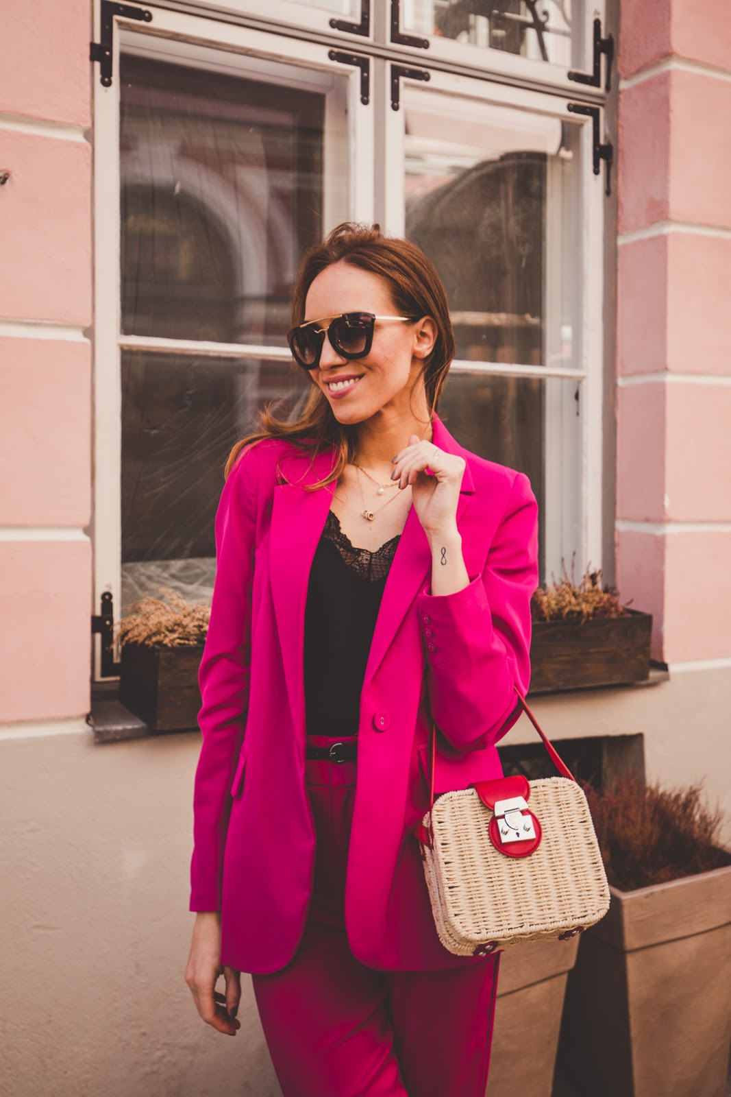 square straw bag suit outfit spring