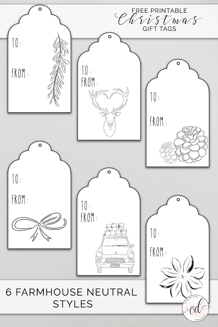 image relating to Printable Christmas Tags Black and White known as No cost Printable Xmas Present Tags - The Geared up Desire