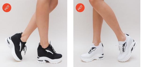 Platforme sport de fete moderne albe, negre cu talpa cu perna de aer