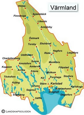 värmland karta Karta över Värmland Regionen | Karta över Sverige, Geografisk  värmland karta