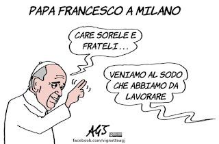 Papa Francesco, Milano, visita pastorale, vignetta, satira