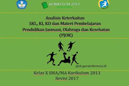 Analisis SKL, KI, KD (PJOK) Kelas X SMA/MA Kurikulum 2013 Revisi 2017