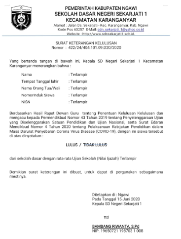 Pengumuman Kelulusan Kelas 6 SDN Sekarjati 1 Kecamatan Karanganyar Kabupaten Ngawi Tahun Ajaran 2019/2020