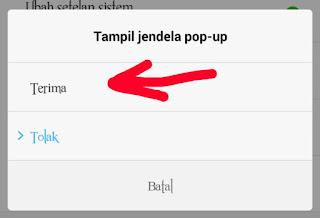 Cara menampilkan jendela pop-up