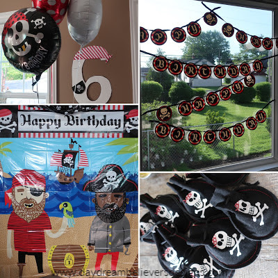 Red and Black Pirate Theme Birthday Party Decorations