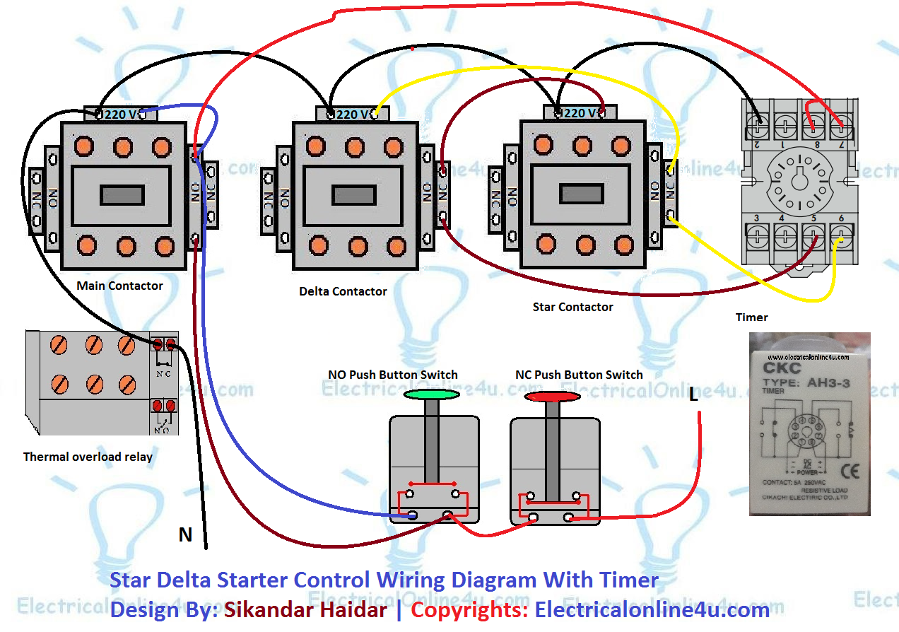 Star    Delta    Starter Control    Circuit       Diagram    With Timer  Electrical Online 4u