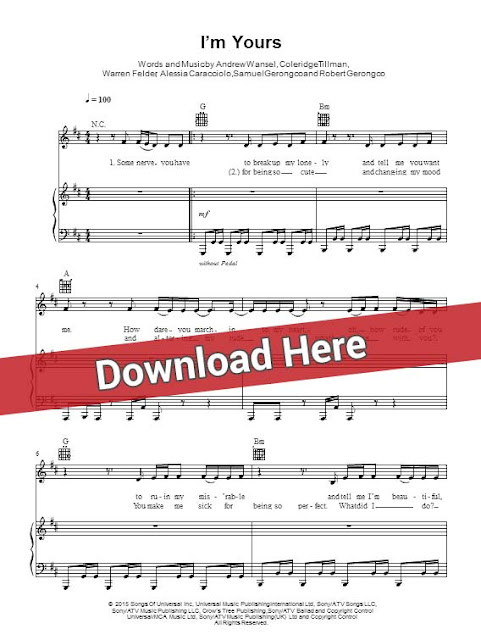 alessia cara, i'm yours, sheet music, piano notes, score, chords, keyboard, guitar, tabs, klavier noten, partition, bass, how to play, learn