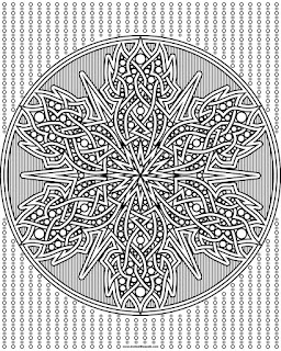 Knotwork snowflake to print and color- available in jpg and transparent png formats.
