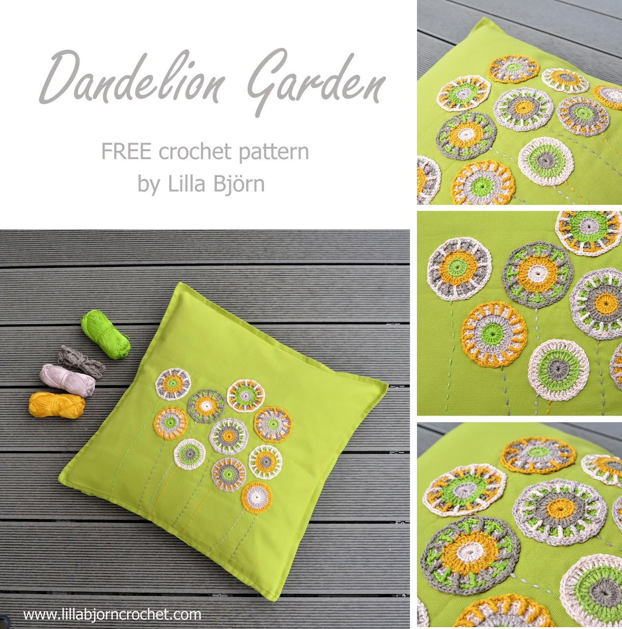 Dandelion Garden pillow - free overlay crochet pattern by Lilla Bjorn