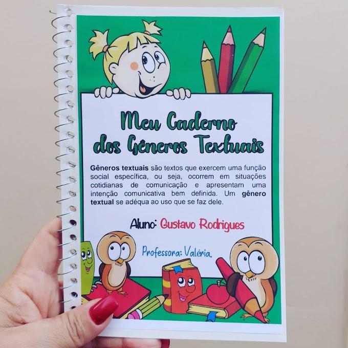 Capa e contracapa do caderno dos gêneros textuais