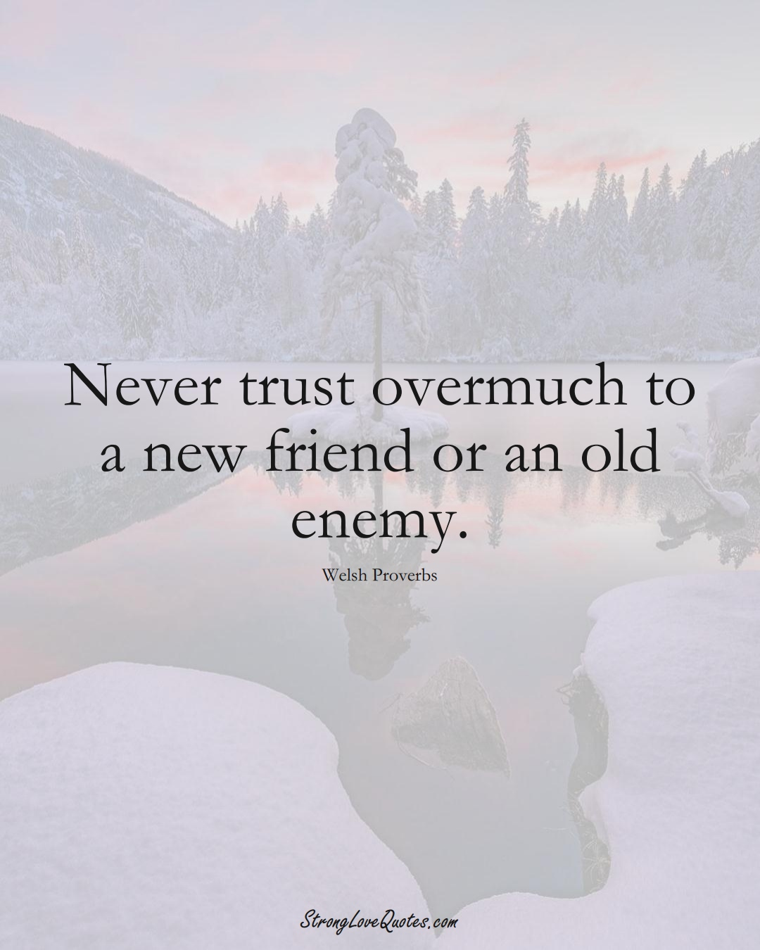Never trust overmuch to a new friend or an old enemy. (Welsh Sayings);  #EuropeanSayings
