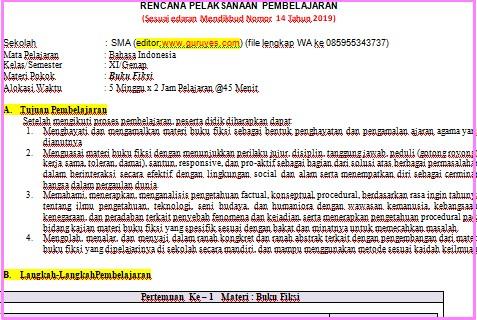 RPP 1 Lembar Bahasa Indonesia  SMA/SMK Kelas 11  Semester 2