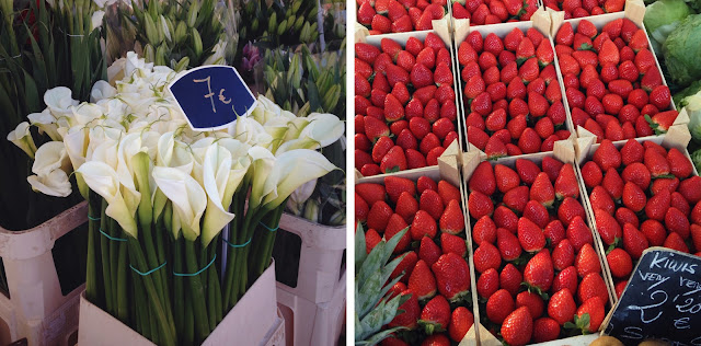 Flowers and strawberries - Playa Flamenca market Orihuela