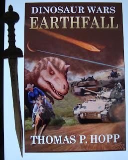 Portada del libro Dinosaur Wars: Earthfall, de Thomas P. Hopp