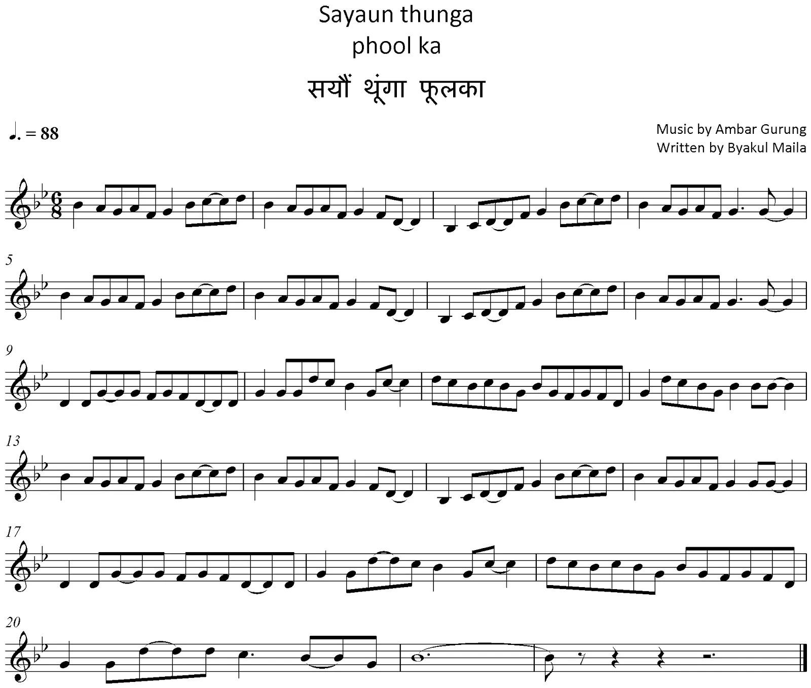 Notes of Nepali National Anthem