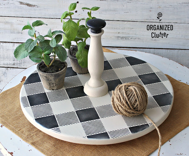 A Buffalo Checked Thrift Shop Lazy Susan Upcycle #oldsignstencils #buffalocheck  #stenciling #thriftshopmakeover #Dixiebellepaint #lazysusan #farmhousekitchen