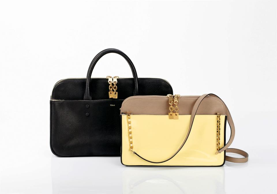 Lucy Bag With Chain In Bicolor Patent Calfskin And
