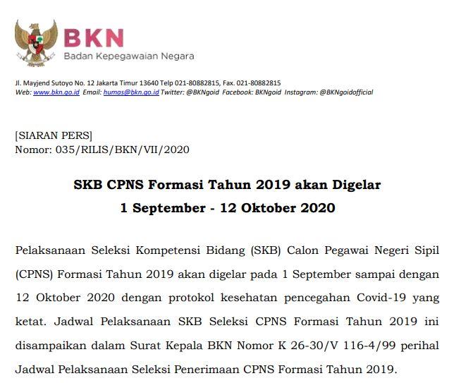 SKB CPNS Formasi Tahun 2019 akan Digelar 1 September - 12 Oktober 2020
