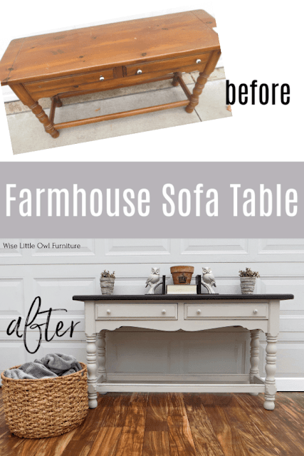 Painted farmhouse sofa table before and after.