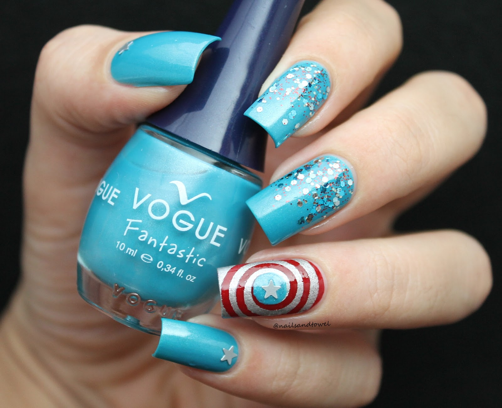 My Nail Art Journal: Captain America Inspired Nails