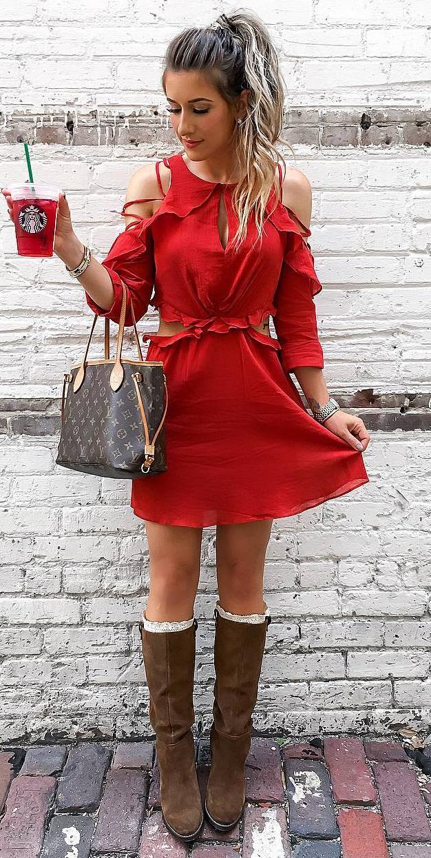 beautiful outfit idea | red dress + brown high boots + bag