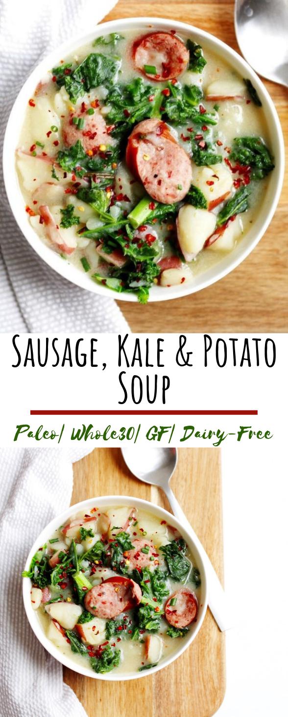 Sausage, Kale and Potato Soup #healthy #glutenfree