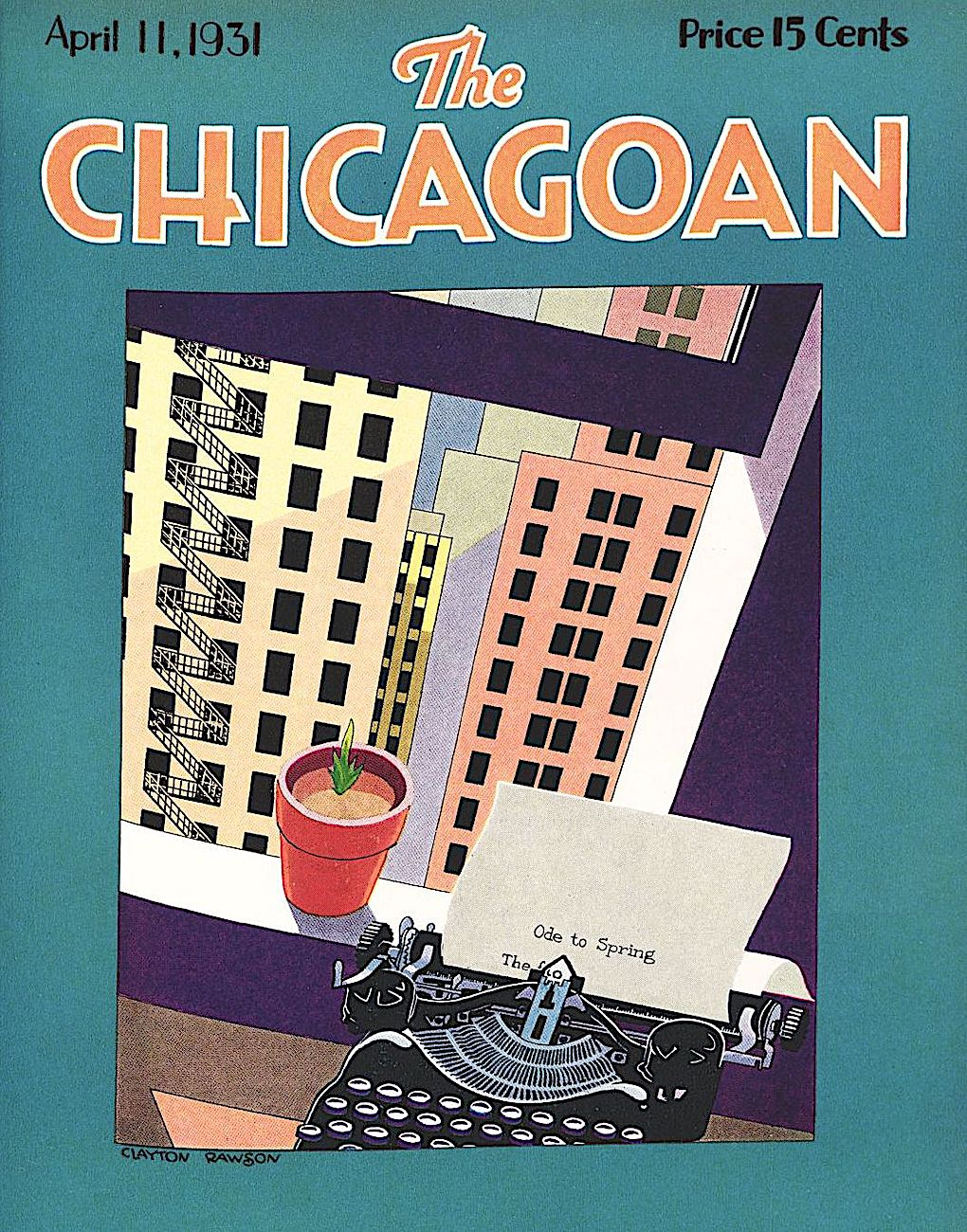 a Clayton Rawson illustration for The Chicagoan magazine, looking out an urban windowa in Spring 1931