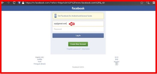 sign in facebook mobile