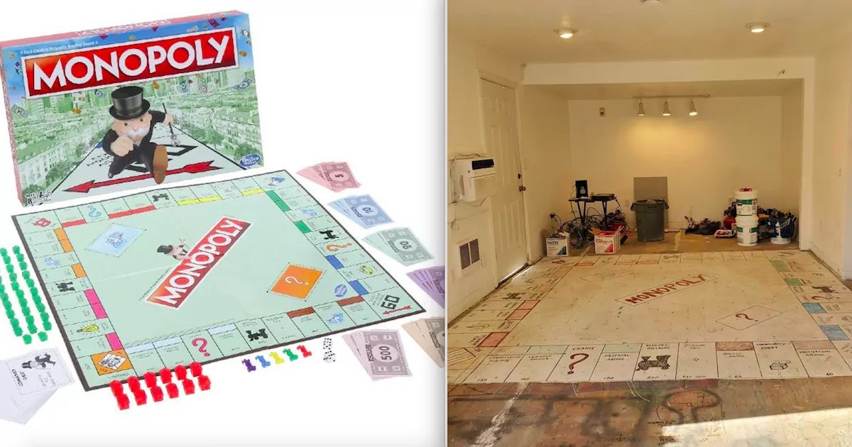Family Discovers Giant Hand-Painted Monopoly Board Underneath Old Carpet In Their Home