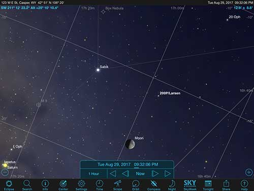 Sky Safari Pro screenshot shows comet 200P/Larsen close to moon (Source: Palmia Observatory)