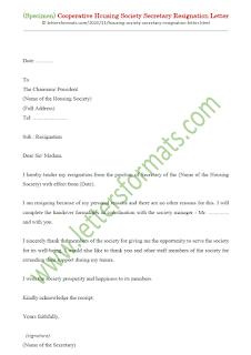 co operative housing society secretary resignation letter format