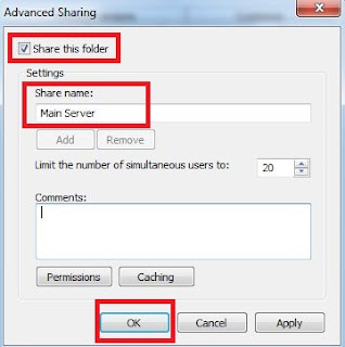 Server name, computer sharing, network connection