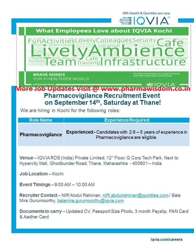 PHARMA WISDOM: IQVIA - Pharmacovigilance Recruitment Drive