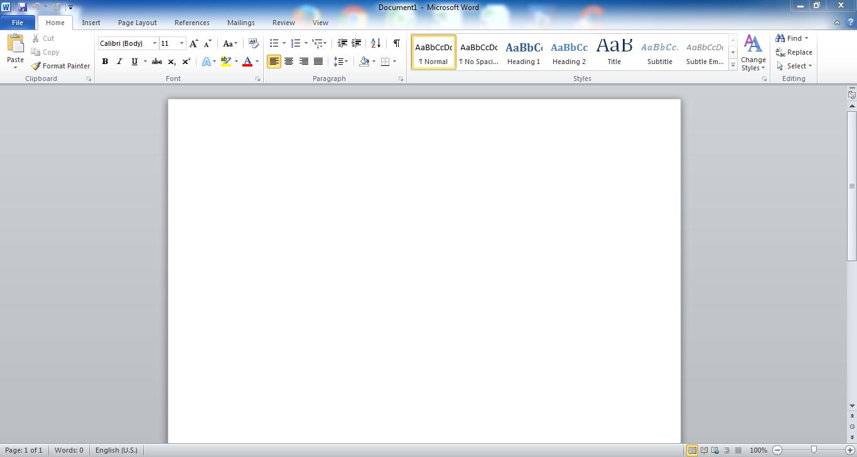 Giao diện cửa sổ Microsoft Word 2010