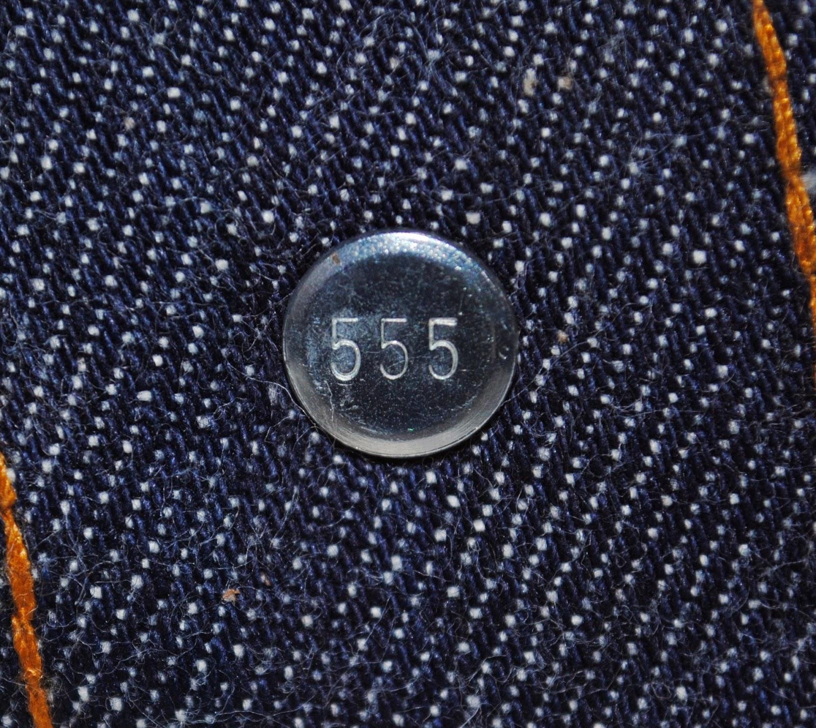 80年代 デッドストック501赤耳のトップボタン裏555刻印の画像
