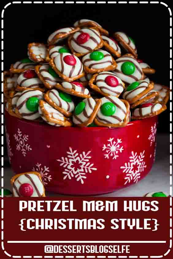 Pretzel M&M Hugs - these are the perfect treats for Christmas gifts or parties. They only need 3 ingredients, they take no time at all to make, they look so pretty and festive and of course they're incredibly delicious! #DessertsBlogSelfe #chocolatepretzels #christmas #christmastreat #partyideas #giftideas #dessertsforparties
