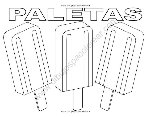 Paletas de hielo, picolé, popsicle dibujos para colorear