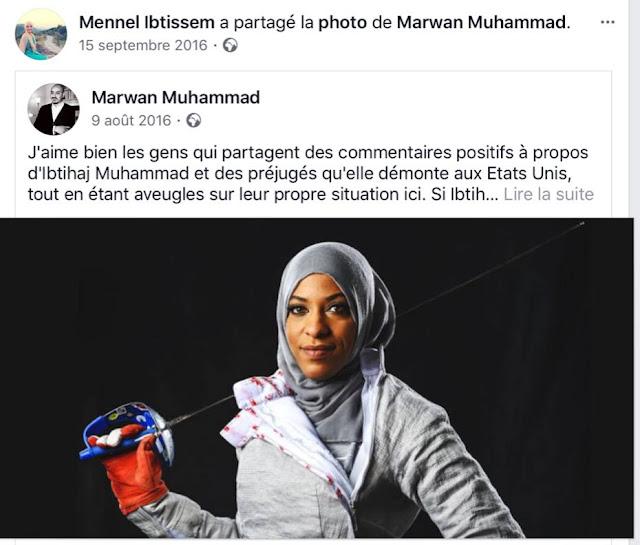 Mennel Ibtissem apprécie aussi la ligne islamiste du CCIF et de Marwan Muhammad