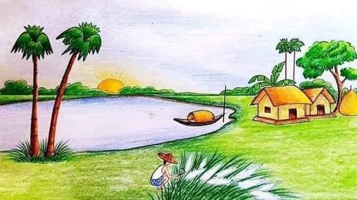 Contoh Gambar Pemandangan dengan Tampilan Danau dan rumah