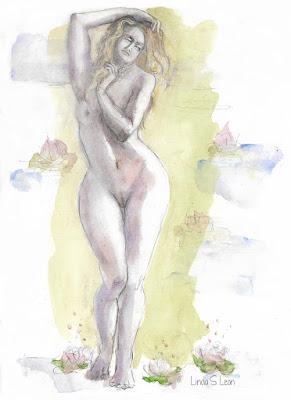 Paciencia - Watercolor by Linda S. Leon for the ARTiSHOcK project on https://tussendelijntjes.blogspot.com