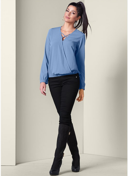 STRAPPY FRONT SURPLICE TOP