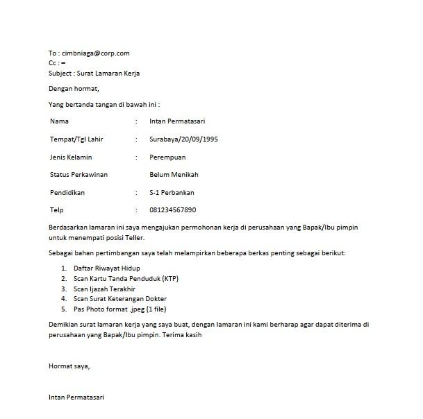 Contoh Surat Lamaran Kerja Email (via: contohsurat.co)