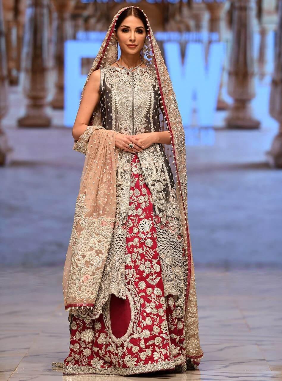 Zainab Chottani Bridal Charcoal front open Brocade shirt with Magenta Sharara