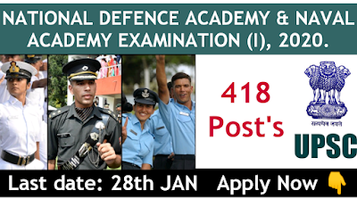 UPSC NATIONAL DEFENCE ACADEMY and NAVAL ACADEMY EXAM 2020.