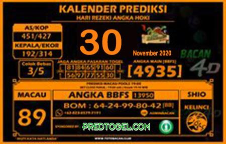 Kalender Prediksi Bacan4D Macau Senin 30 November 2020