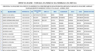 TAMISEMI: New Government Teachers Employment Opportunities-Additional List for 2019