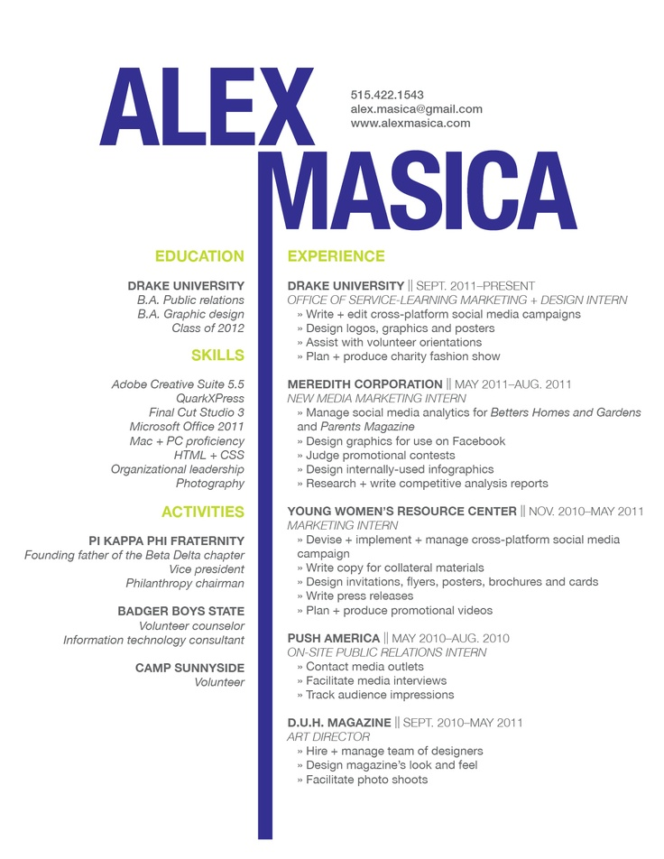 resume graphic design