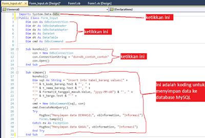 7 - Tutorial Vb.Net - Cara membuat Form Simpan(Input) Ke Database Mysql Memakai Connector Odbc