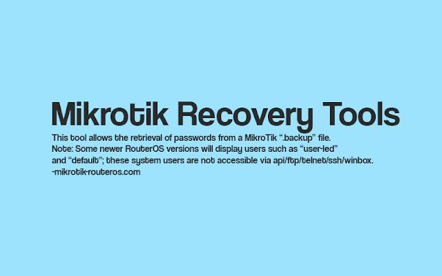 Password Recovery Tool Mikrotik