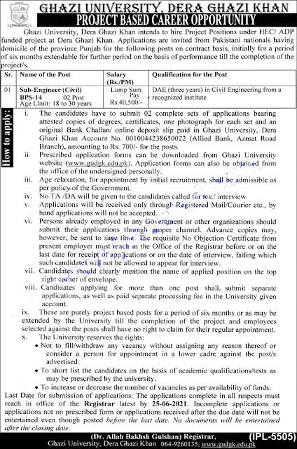 Ghazi University Jobs 2021 | Dera Ghazi Khan jobs 2021